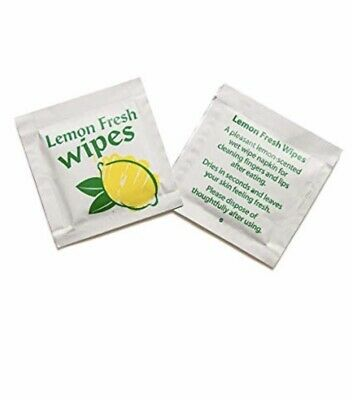 Lemon Scented Fresh Hand Wet Wipe, Individually Wrapped Sachet, Restaurant 1x50
