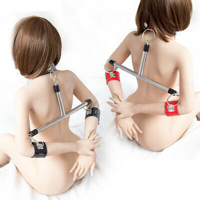Bed Handcuffs Cuff Neck Strap Kit Slave Adults Game Leather Bandage Cosplay-BDSM