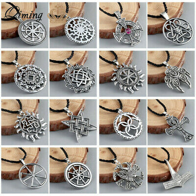 Viking Amulet Pendant Slavic Necklaces for Men Pagan Religious Steampunk Jewelry
