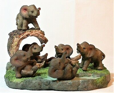 Set of 6 Comical Baby Elephant on a Display Stand Poly Resin 9319844591171 NEW