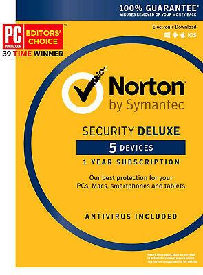 Norton Internet Security 🆒 Deluxe Antivirus 1 Year 5 Device Win Mac Android iOS