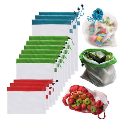 12 Pack Reusable Produce Bags Black Rope Mesh Vegetable Fruit Toys Storage Pouch