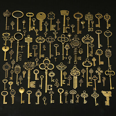 90Pcs Large Antiqued Gold Skeleton Keys Pendants wedding vintage old style  !