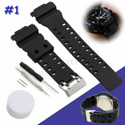 BLACK WATCH STRAP BAND & PINS FOR G Shock GA-100 G-8900 GW-8900 16MM  !