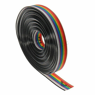 10 Way / Pin Flat Color Rainbow Ribbon Cable Wire IDC 1.27mm Pitch 5M / Lot ! !