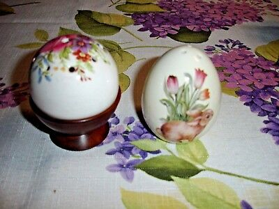 Vintage Salt And Pepper Shakers Flowers And Bunny With Tulips