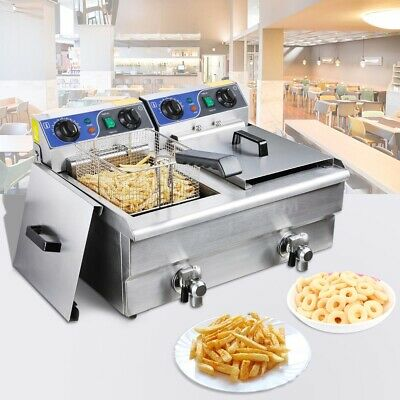 Electric Deep Fryer - 20L Commercial Frying Countertop Basket Cooker w/ Timer