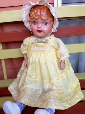 Antique composition doll American Doll Co 1912 rare Marcelled molded hair 64 cm