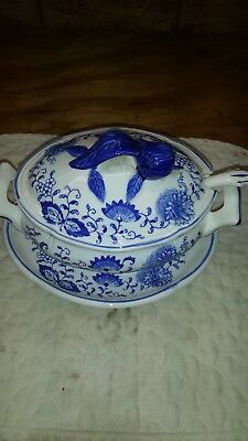 Vintage Blue Onion Soup Tureen With Underplate-Excellent