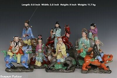 Fine Beautiful Chinese Famille Rose Porcelain Eight Immortals Statues