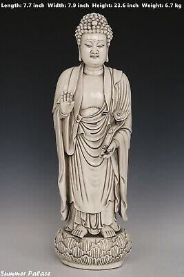 Fine Beautiful Chinese White Glaze Porcelain Buddha Statues
