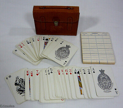 Thomas De La Rue Dual Playing Cards Deck Set w/Holder Made in London