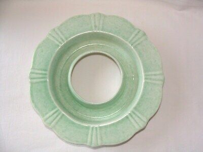 "Art Deco GEORGE CLEWS Ceramic FLOWER POSY Vase BOWL Green Circular 23 cm 9"" dia"