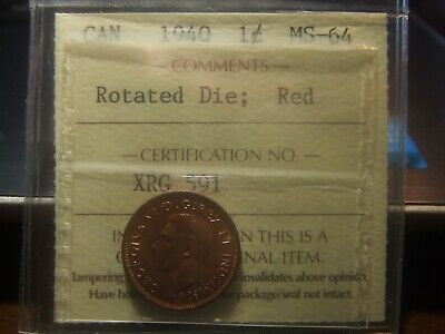 Canada One Cent 1940, Rotated Die, Iccs Ms-64 Red!!!!!