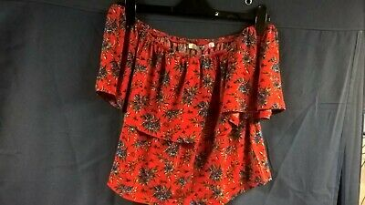V by Very Red Floral Frill Crop Top Size 18
