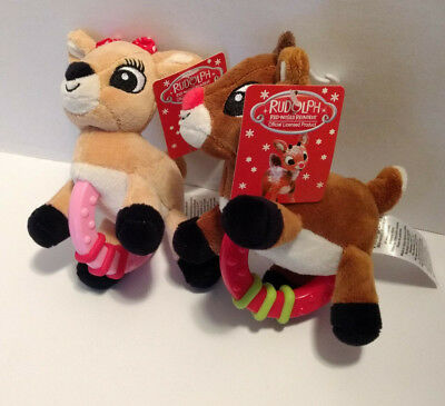 e34c2ccb0c Rudolph The Red-Nosed Reindeer and Clarice Plush Baby Rattles NEW Christmas  5