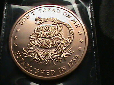 1754~Don't tread On Me~1 OZ. copper round .999 with reed edge~ Proof like