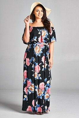 40253e983cc Plus Size Black Ruffle Off Shoulder Blue Pink Floral BoHo Maxi Dress 1X 2X