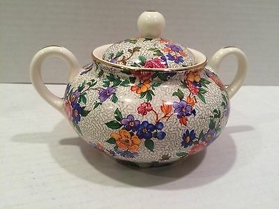 Vintage Erphila Dorset (Cheery Chintz China) Sugar Bowl and Lid 1920s