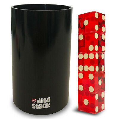 Dice Stacking Cup Set - Pro' Straight Cups with 5 Razor Edges 19mm Casino Dice