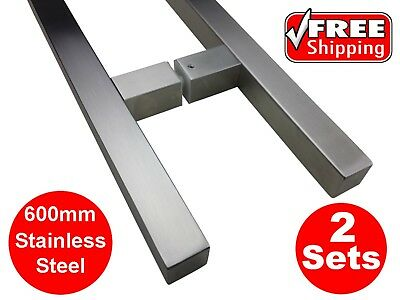 2 X STAINLESS STEEL DOOR HANDLE ENTRANCE PULL SET 600mm LONG SATIN ENTRY SQUARE