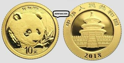 2018  China Gold Panda  1 Gram Coin  10 Yuan .999 Pure Fine Gold - Mint Sealed