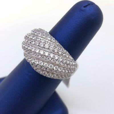 CZ Sterling Silver .925 Wide Wedding Band Wrapped Ring Cluster 14mm Size 7.5