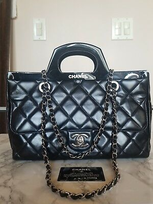 de3b46bfc7d7 Authentic Pre-Owned Chanel CC Delivery Tote Small Black Quilted Silver  Hardware