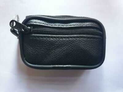 Soft Black Genuine Leather Coin Mini Pouch Wallet Purse With Belt Loop Keyring