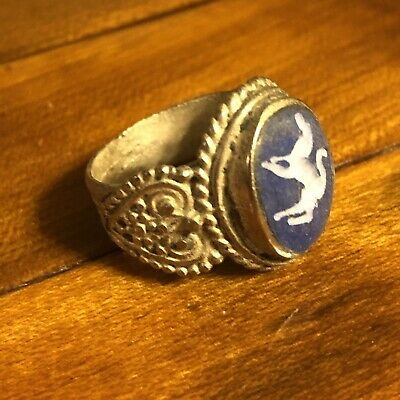 Middle Eastern Blue Stone Intaglio Silver? Signet Ring Ancient Islamic Antique Y