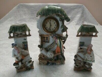 Antique Mantle Clock Garniture Porcelain  Bisque Figurines Set 1930 Germany.