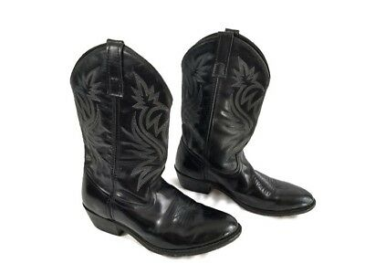 4379d9a8153b6 Laredo Black Leather Stitched Cowboy Western Boots Mens 8.5 EM Style 4210  Vamp