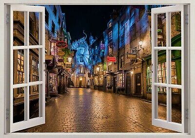 Harry Potter Castle Diagon Alley Wizard 3d Effect Window Wall Sticker Poster 651