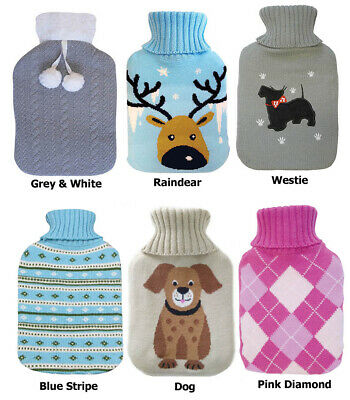 Large 2L Natural Rubber Hot Water Bottle With Warm Knitted Cover UK