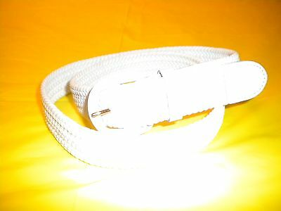 Mens White  Braided Elastic Stretch Belt  leather white Buckle SIZE S -30-32