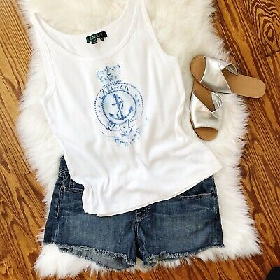 fea89815df RALPH LAUREN NAUTICAL Tank Top XL Blue and White with Anchor ...