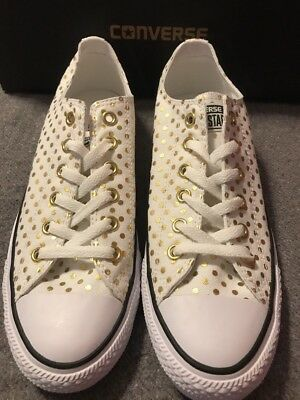 6a695455ae902f CONVERSE OX WHITE   Gold Polka Dot Canvas Sneakers Shoes Women s NEW ...