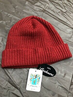 5b81fd993ea Portolano Women s Ribbed Cuffed 100% Cashmere Beanie Hat Wine Red One Size  NWT