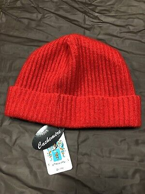 f6fdef11ebf Portolano Ribbed Cuffed 100% Cashmere Beanie Hat Women s NWT  85 Candy Red  Knit