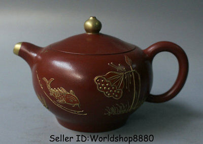"5.2"" Marked Old China Qing Yixing Zisha Pottery Carved Year Fish Lotus Teapot"