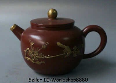 "5.6"" Old China Palace Yixing Zisha Pottery Carved Flower Birds Teapot Teakettle"