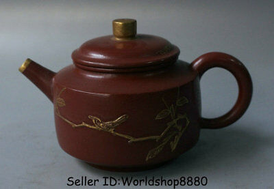 "4.8"" Old China Yixing Zisha Pottery Carved Flower Birds Handle Teapot Teakettle"