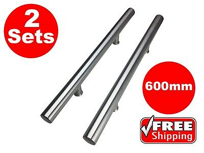 2 SETS STAINLESS STEEL DOOR HANDLE ENTRANCE PULL SET 600mm LONG SATIN FINISH