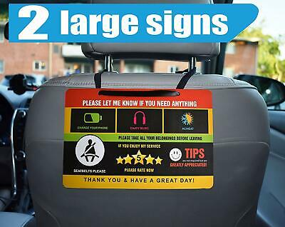 Uber Lyft Tips Rating Appreciated Rideshare Driver Signs Double Sided 9X6 (2PK)