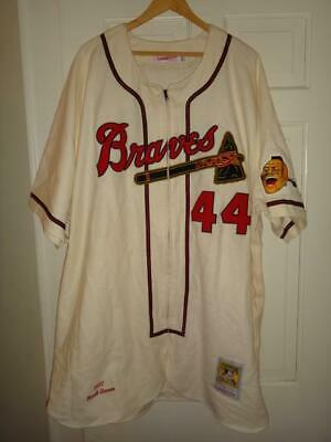 e158a625 Hank Aaron 1957 Milwaukee Braves Mitchell & Ness Zip-Up Authentic Jersey  60(4XL