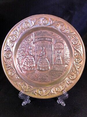 """Vintage LOMBARD ENGLAND Brass Wall Plate 6"""" """"Antique Shop"""""""