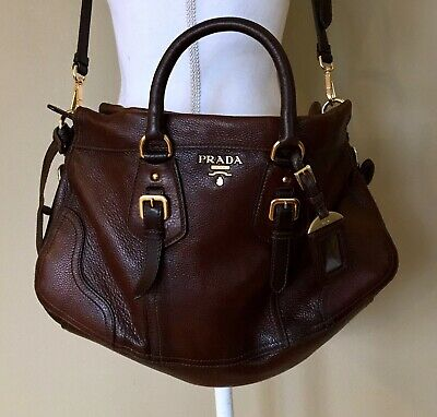 86b0f77a9b12 Prada Cervo Antik Deerskin Cacao Gradient Satchel Crossbody Shoulder Bag