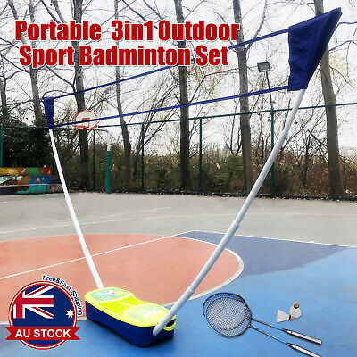3 in 1 Portable Badminton Tennis Volleyball Net Set Outdoor Backyards Sports H
