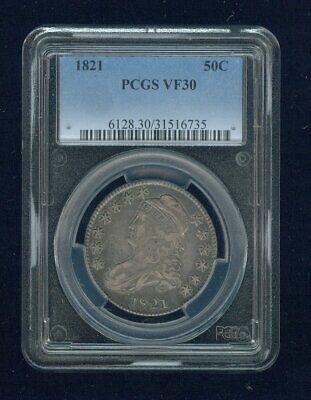 1821-P Capped Bust Silver Half Dollar 50C PCGS VF 30 Type 1, Lettered Edge