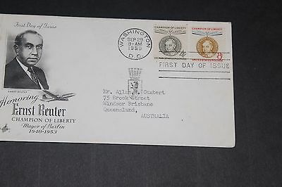 Usa 1959 Illustrated Ernst Reuter Issues First Day Cover To Aust